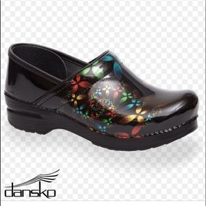 Dansko Scatter Floral Patent Leather Clog Size 39